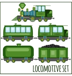 set of vintage locomotives vector image