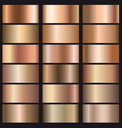 set rose gold gradients texture vector image