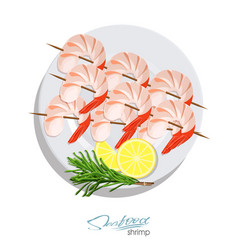 Shrimps on a skewer with rosemary and lemon on the vector