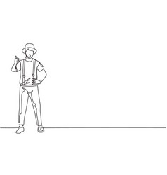 Single one line drawing mime artist stands vector