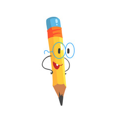 Smart cartoon yellow pencil character with hands vector