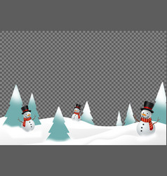 Snowman wearing hat and scarf smile in snowy vector