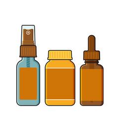 Spray tincture bottle and opaque plastic jar vector