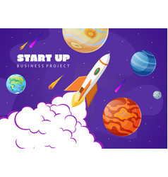 start up concept space background with rocket and vector image