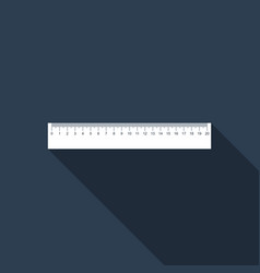 Straightedge symbol ruler icon with long shadow vector