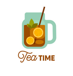 Tea time cold drink with lemon and herbs in vector