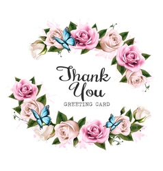 thank you background with beautiful roses vector image