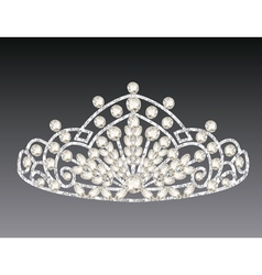 Tiara crown womens wedding on a grey background vector