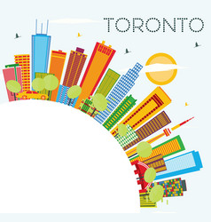 Toronto skyline with color buildings blue sky and vector