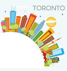 Toronto skyline with color buildings blue sky vector