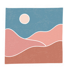 Trendy minimalist landscape abstract contemporary vector