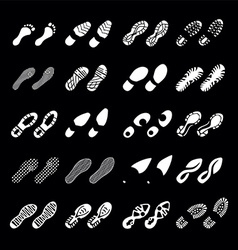 various shoes footprints vector image