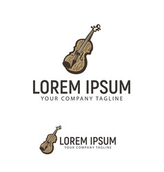 violin hand drawn logo design concept template vector image