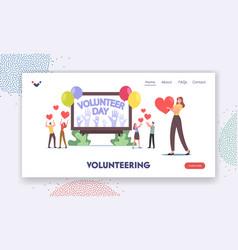 volunteering landing page template volunteers vector image