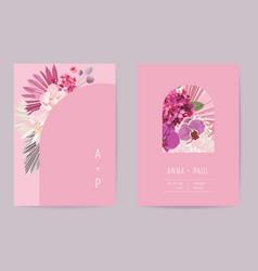 wedding watercolor floral card dry tropic vector image