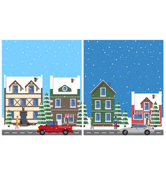 winter in city placards set vector image