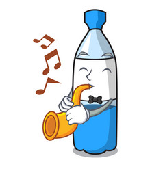 with trumpet water bottle mascot cartoon vector image