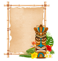 wooden tiki mask and bamboo signboard vector image