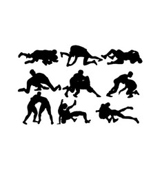 wrestling silhouettes vector image