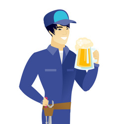 young asian mechanic drinking beer vector image