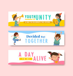 Youth day banner template design vector