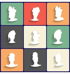 Flat Icons Set of Female Silhouettes vector image vector image