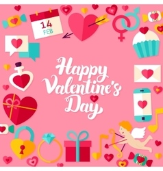 Happy Valentine Day Lettering Postcard vector image vector image