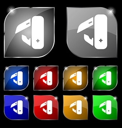 knife picnic icon sign Set of ten colorful buttons vector image vector image