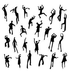 People figures in motion dancing people set cute vector