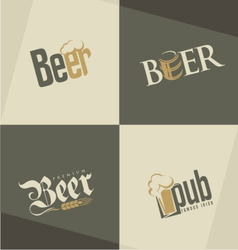 Set of beer logo design templates vector image
