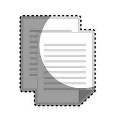 sticker grayscale silhouette with document file vector image