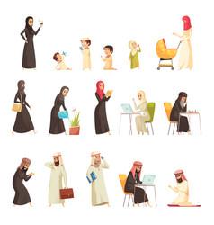 arabs family cartoon icons set vector image