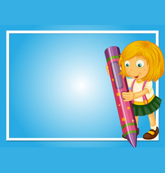 Border template with girl and crayon vector