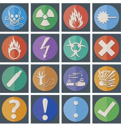 Danger icon color paper fold style vector image