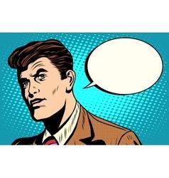 man asks retro comic bubble vector image vector image