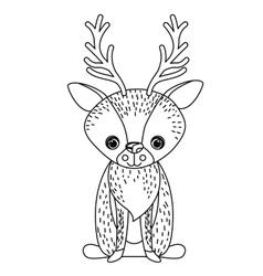 Reindeer cute wildlife icon vector