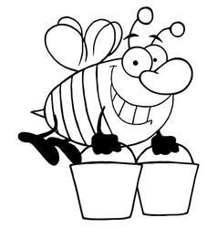 Royalty Free RF Clipart Happy Honey Bee Flying vector image vector image