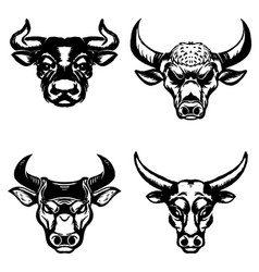 set of hand drawn bull heads on white background vector image