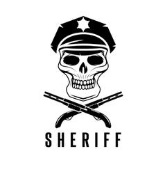 Sheriff skull in cap and shotguns design template vector