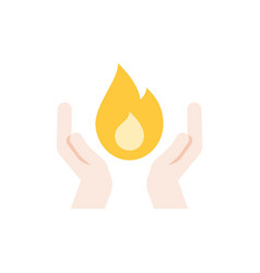 two hands and fire vector image vector image