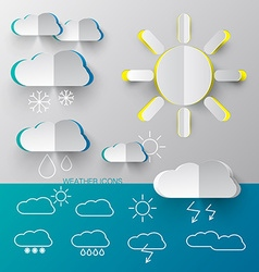 Weather Icons - Paper Cut and Outline Simple vector image vector image
