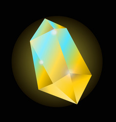 bright yellow crystal that shines with blue color vector image