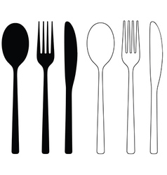 Cutlery Icon Black Silhouettes vector image vector image