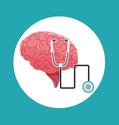 human brain stethoscope medical symbol vector image