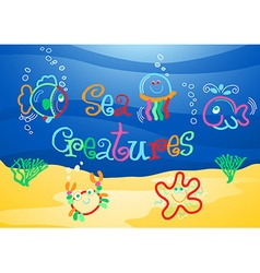 Little sea creatures under the sea vector image vector image
