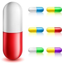 Pill capsule set vector image