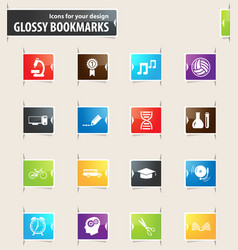 School bookmark icons vector