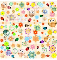 seamless flower and owl background pattern vector image vector image