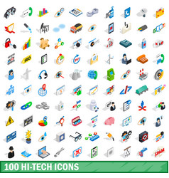 100 hi-tech icons set isometric 3d style vector image vector image