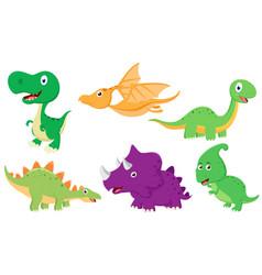 cute dinosaur cartoon collection set vector image vector image